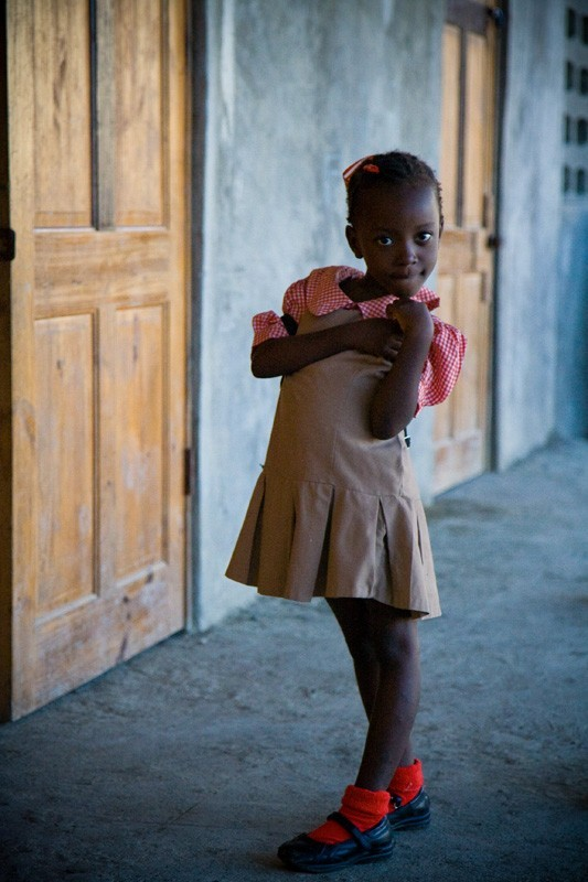 shy haitian girl in school uniform