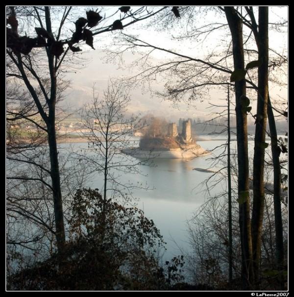 Castle lake water island gruyere switzerland blue