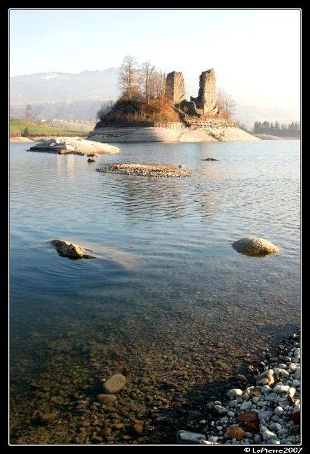 water island lake blue castle switzerland gruyere