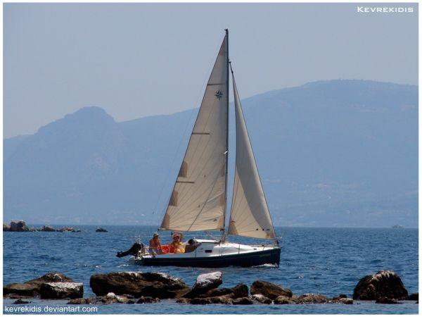Sailing in South Evian Gulf – Greece.