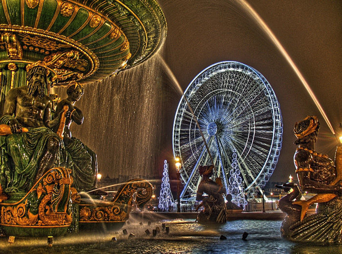 Paris ,funtain,fontaine,night,nuit