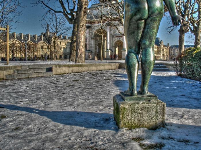 Paris ,Louvre,snow,neige,Carrousel,statue