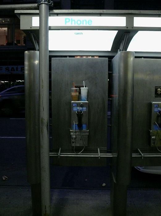 New York payphones drinks street night
