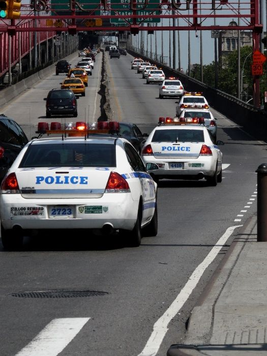 New York cops cars bridge street