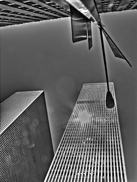New York building street b&w hdr