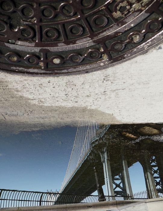 New York Manhattan bridge reflection