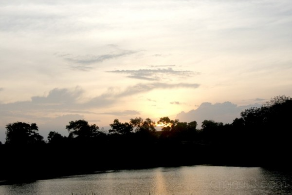 sunset at seri alam lake