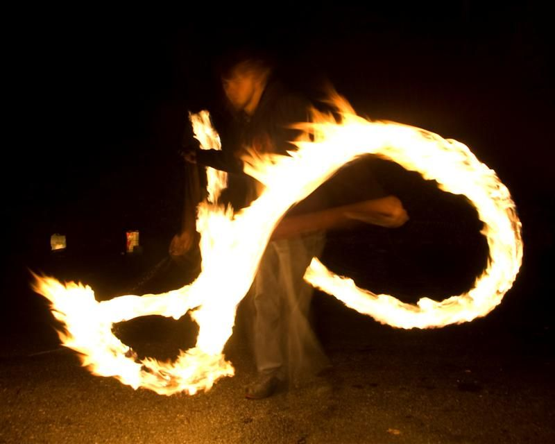 Matt spinning fire poi