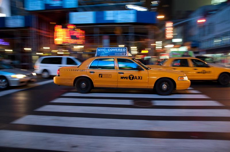 Panning in Times Square