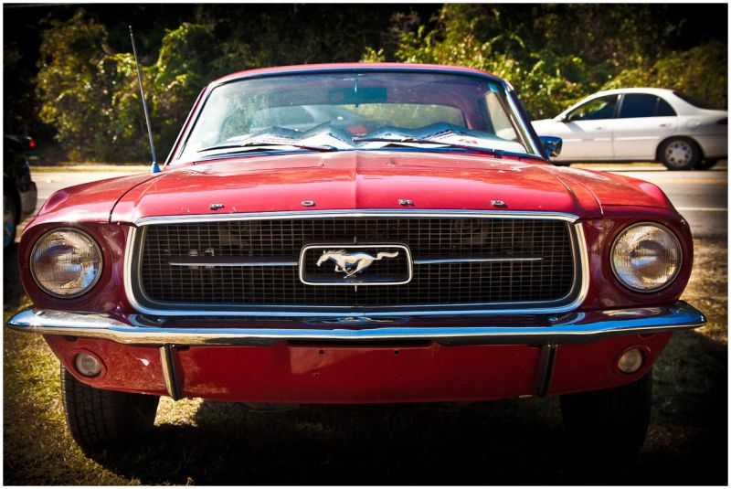 classic red mustang