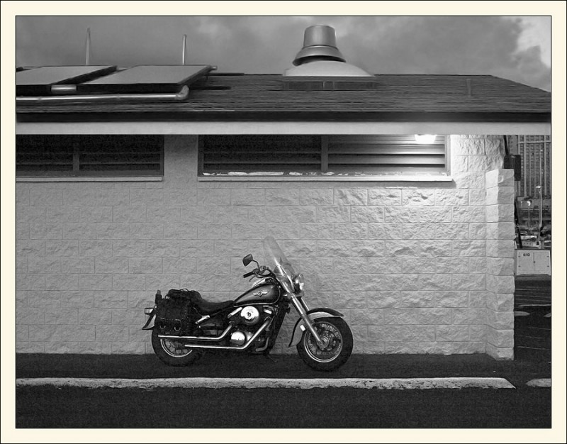 motorcycle at parked at dusk
