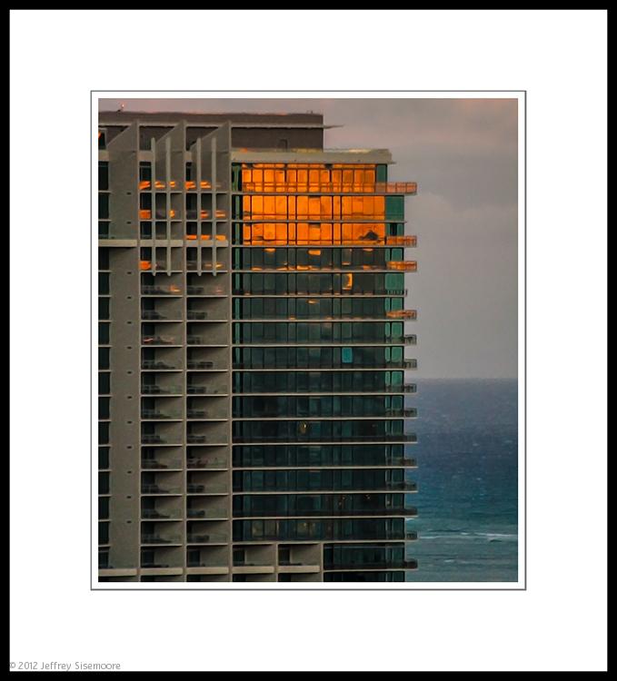 the orange glow of sunset