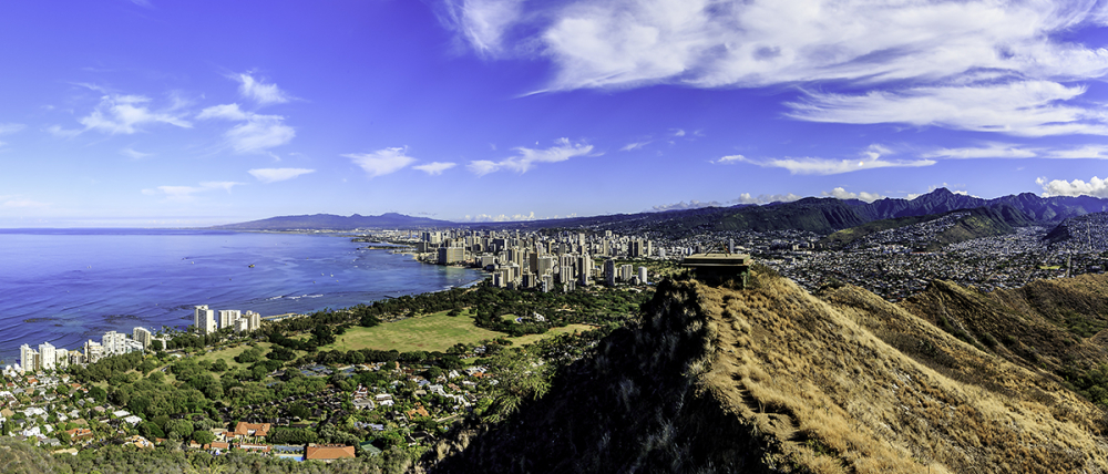 wide angle view of honolulu