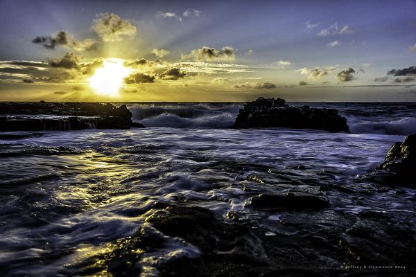 sunrise near sandy beach X