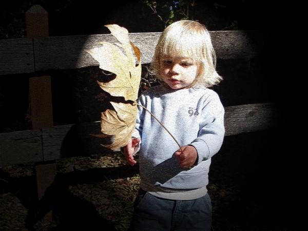 Grandson with Large Leaf