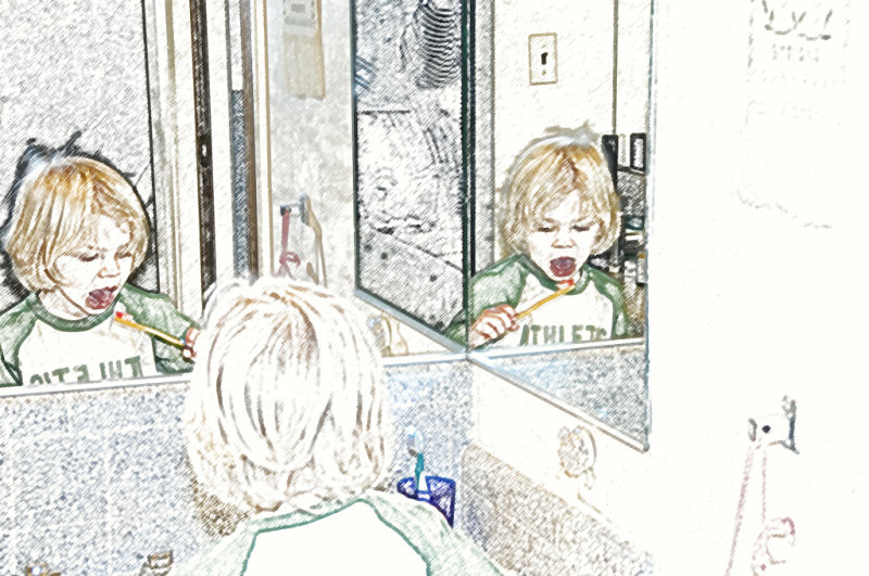 Three views of toddler brushing his teeth
