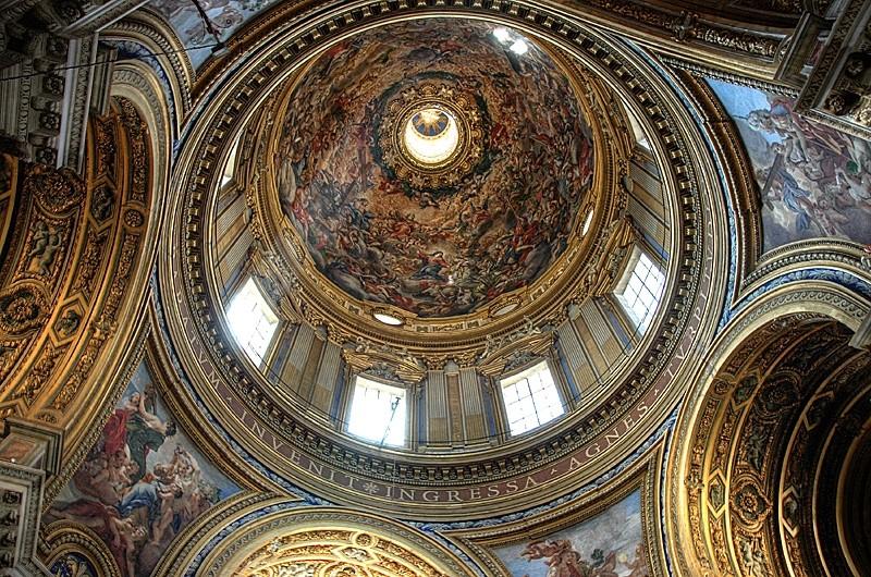 sant'agnese dome rome borromini hdr