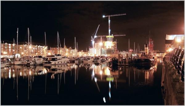 swansea marina at night