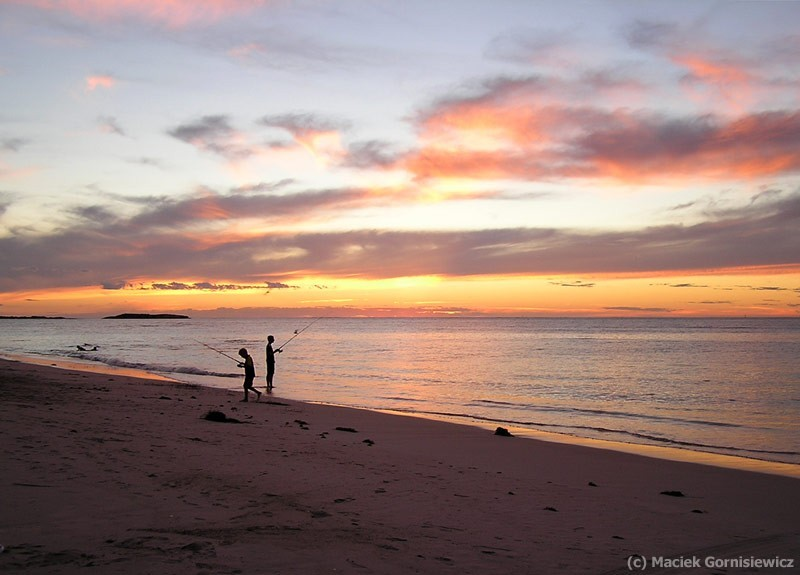 Fishing at sunset in Jurien Bay