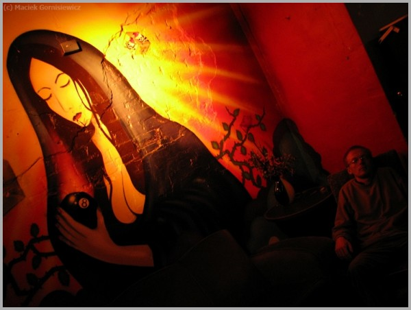 Illuminated wall painting.