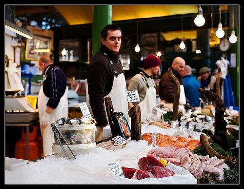 a fish stall at London Borough Market