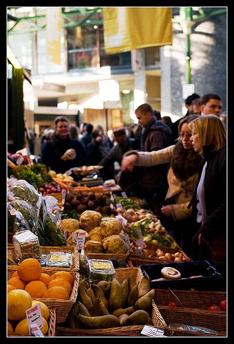 A fruit and vegetable stall at Borough Market