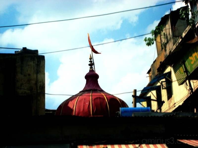 The red roof of a temple in Chandini Chok