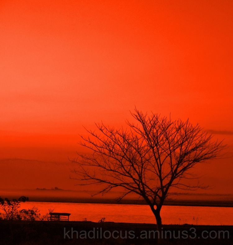 Sunset on the Brahmaputra -- Red