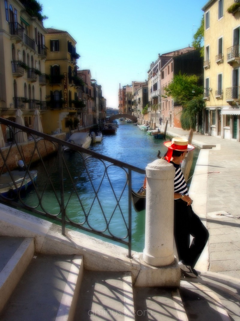 A gondalier waiting for a customer in Venice