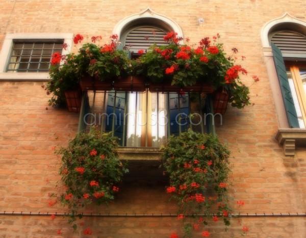 Window and balcony in Venice Italy