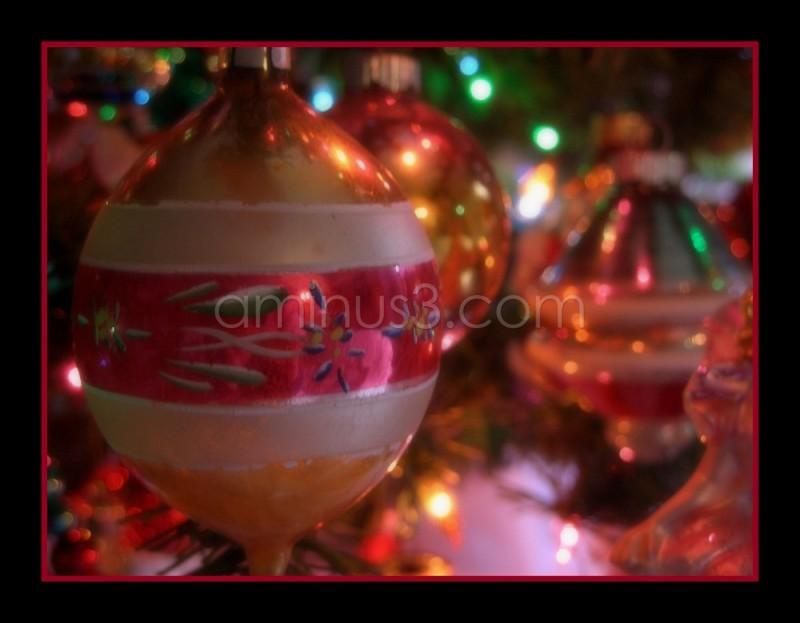 Vintage Christmas decorations on a tree