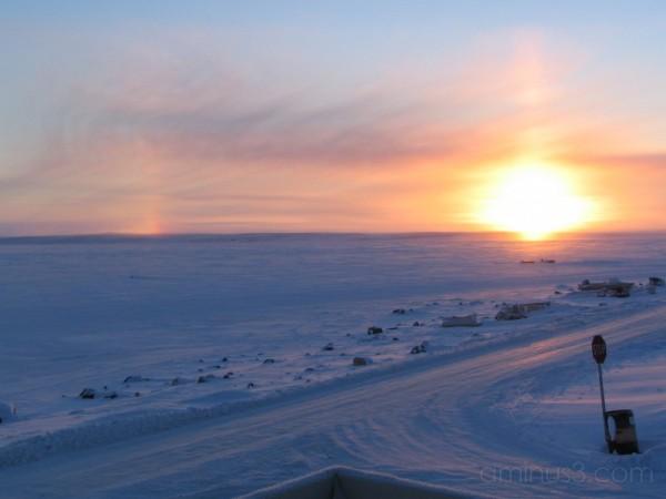 tundra snow sunset