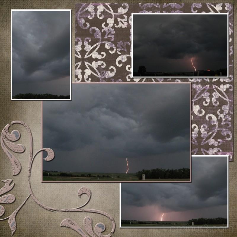 lightning storm collage