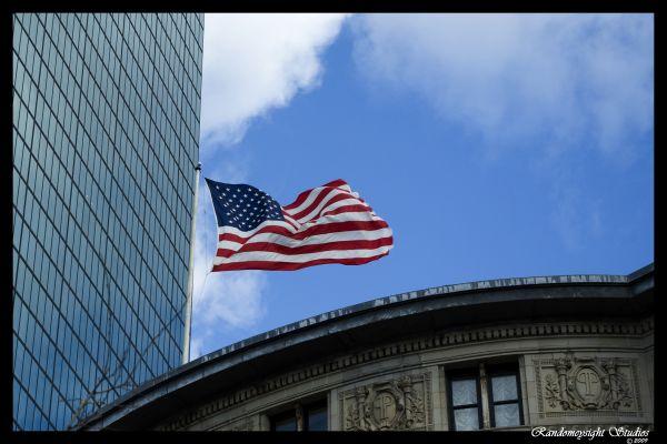 boston psw american flag building reflection