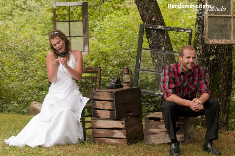 bride groom forest wedding