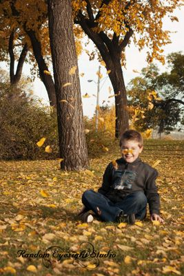boy fall leaves