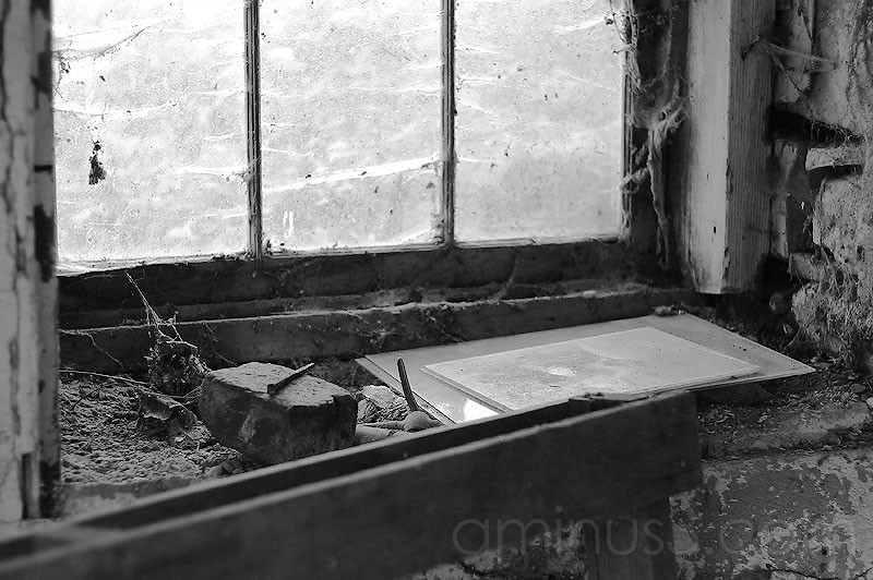 Inside the Barn Window - B&W