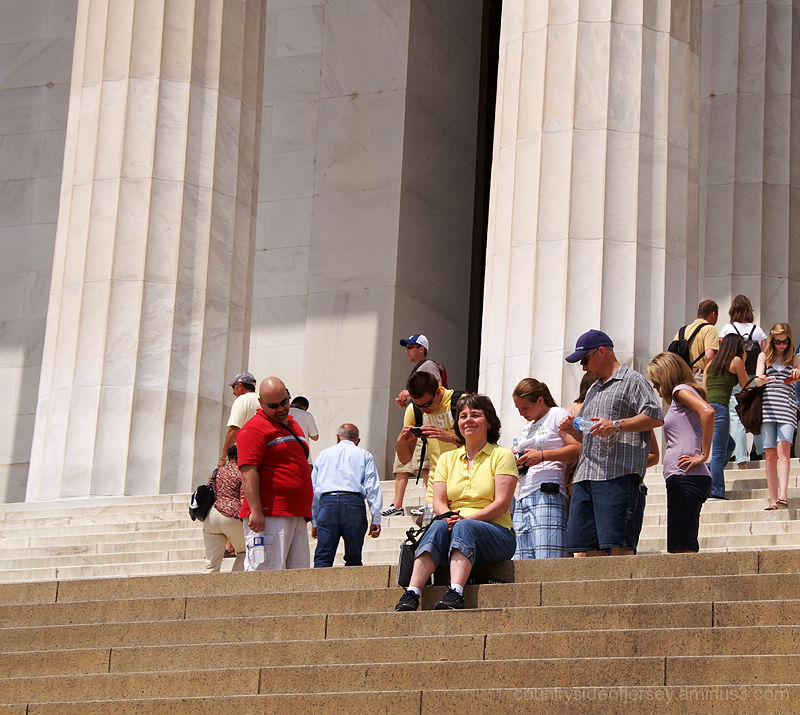 MJ Enjoying the View from the Lincoln Memorial