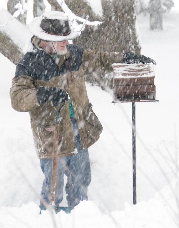 My husband filling bird feeder