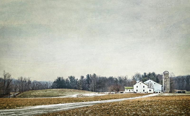 Amish Farm on Grey winter Day