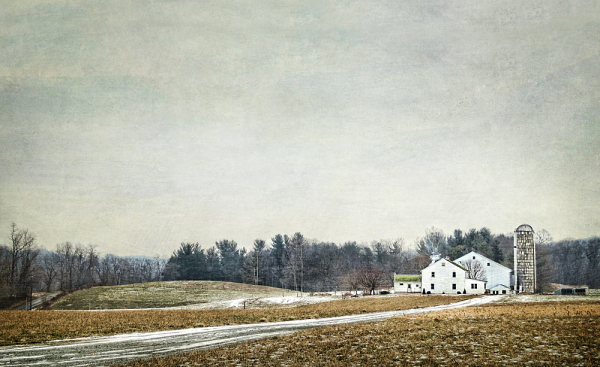 Amish Farm on Grey winter Day