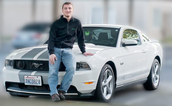 My son with his Mustang