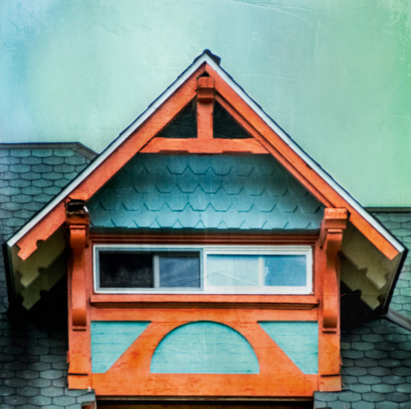 Turquoise and orange gable