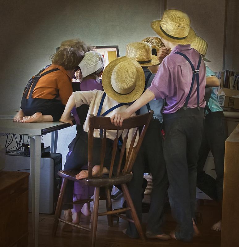 Amish family at my computer