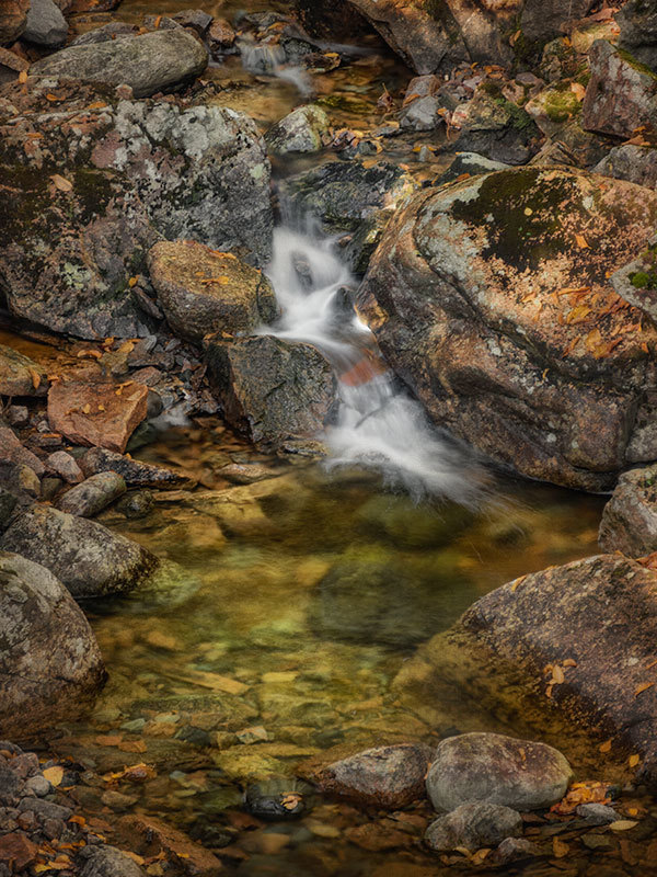 small waterfall in Acadia National Park