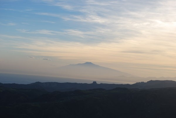 panorama of Etna and Pentedattilo from Calabria