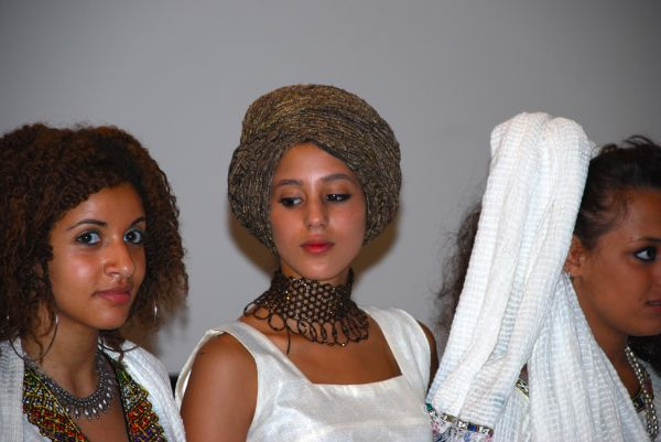 Italian-Ethiopian girls during a short dress show