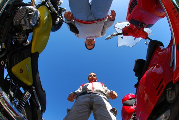 A fisheye effect with my friend, me and our motos