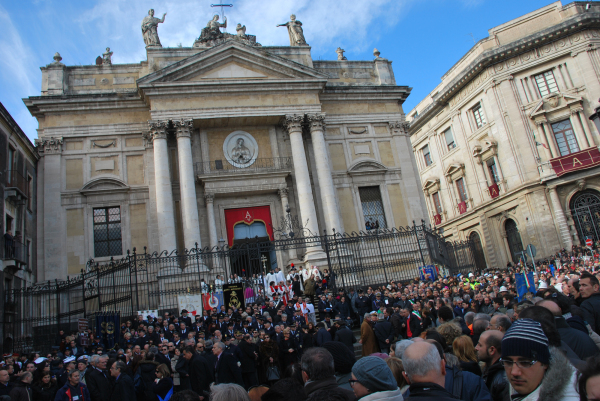 a moment of the part for Saint Agata in Catania
