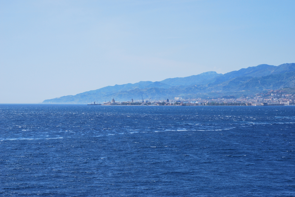 Panorama of Stretto of Messina, Italy, May 2012